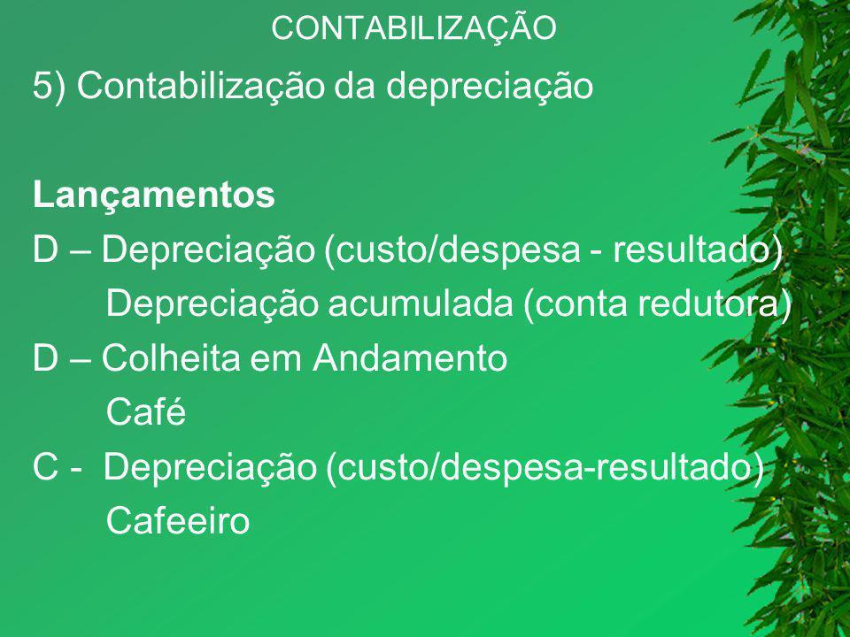CONTABILIZAÇÃO 5) Contabilização da depreciação Lançamentos D – Depreciação (custo/despesa - resultado) Depreciação acumulada (conta redutora) D – Col