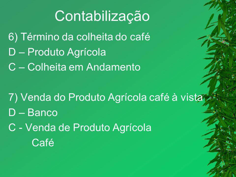 Contabilização 6) Término da colheita do café D – Produto Agrícola C – Colheita em Andamento 7) Venda do Produto Agrícola café à vista D – Banco C - V