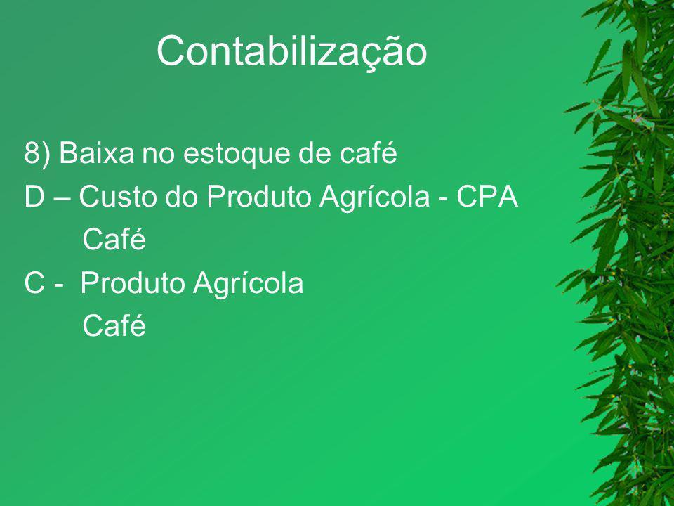Contabilização 8) Baixa no estoque de café D – Custo do Produto Agrícola - CPA Café C - Produto Agrícola Café