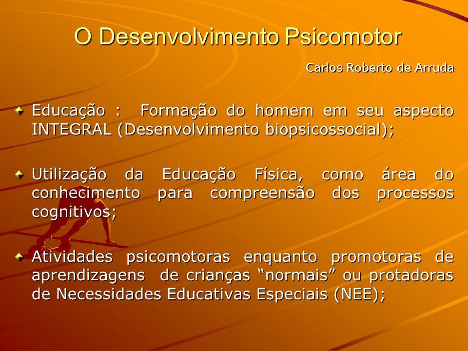 Carlos Roberto de Arruda Educação : Formação do homem em seu aspecto INTEGRAL (Desenvolvimento biopsicossocial); Utilização da Educação Física, como á