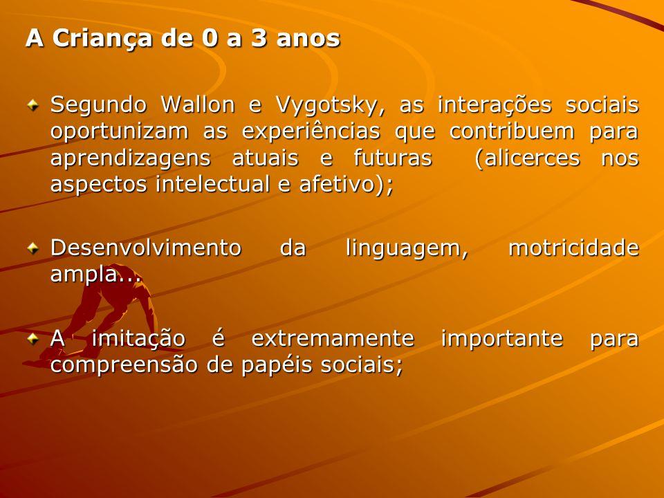 A Criança de 0 a 3 anos Segundo Wallon e Vygotsky, as interações sociais oportunizam as experiências que contribuem para aprendizagens atuais e futura