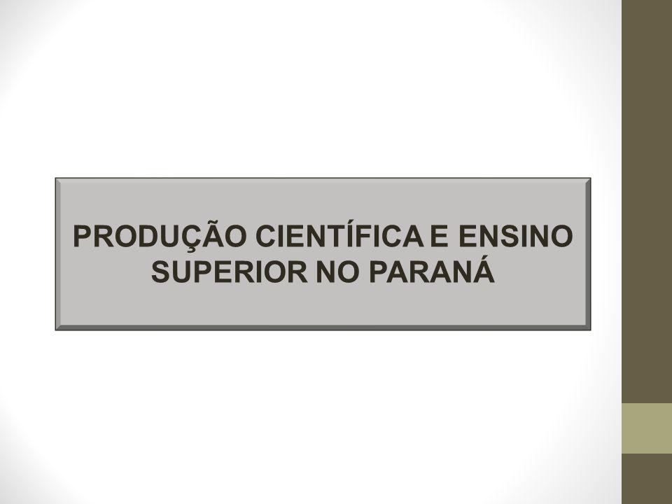 PRODUÇÃO CIENTÍFICA E ENSINO SUPERIOR NO PARANÁ