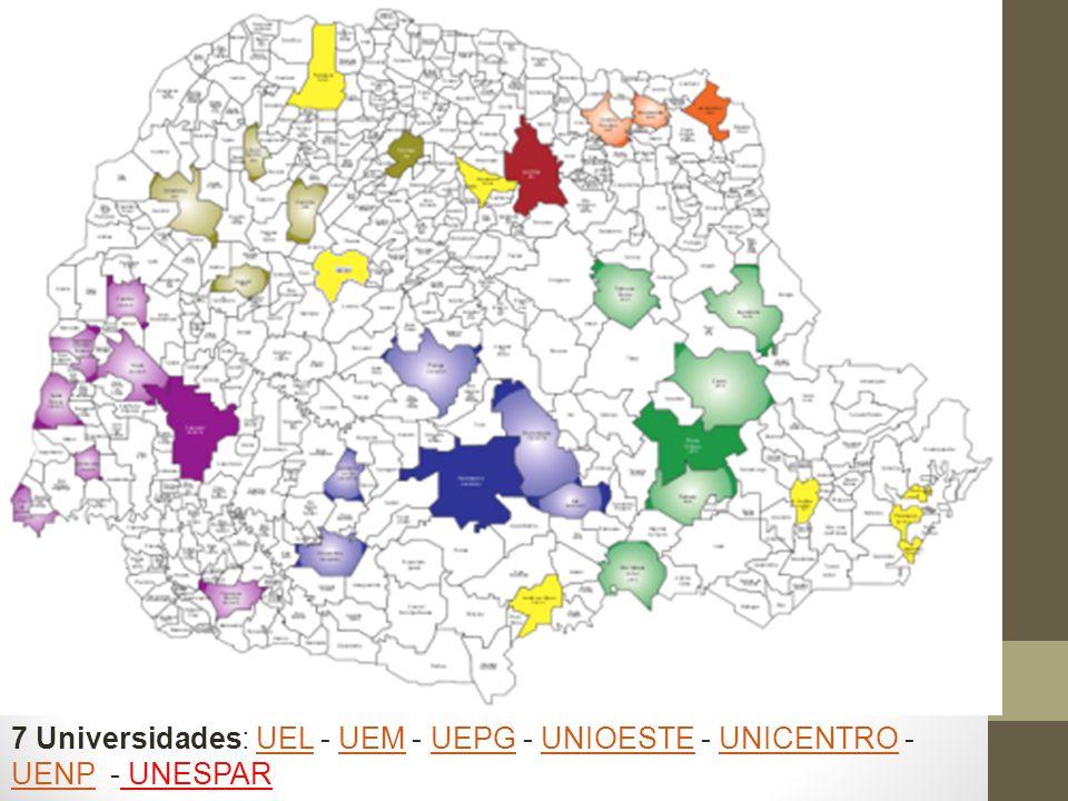 7 Universidades: UEL - UEM - UEPG - UNIOESTE - UNICENTRO - UENP - UNESPARUELUEMUEPGUNIOESTEUNICENTRO UENP