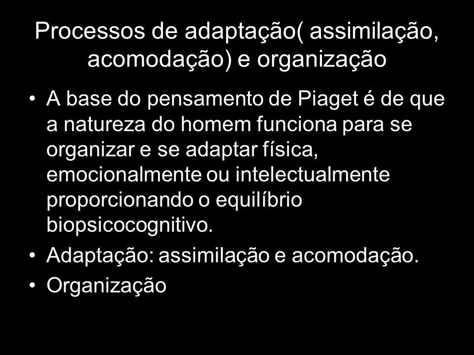 Processos de adaptação( assimilação, acomodação) e organização A base do pensamento de Piaget é de que a natureza do homem funciona para se organizar e se adaptar física, emocionalmente ou intelectualmente proporcionando o equilíbrio biopsicocognitivo.