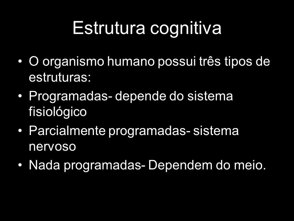 Estrutura cognitiva O organismo humano possui três tipos de estruturas: Programadas- depende do sistema fisiológico Parcialmente programadas- sistema nervoso Nada programadas- Dependem do meio.