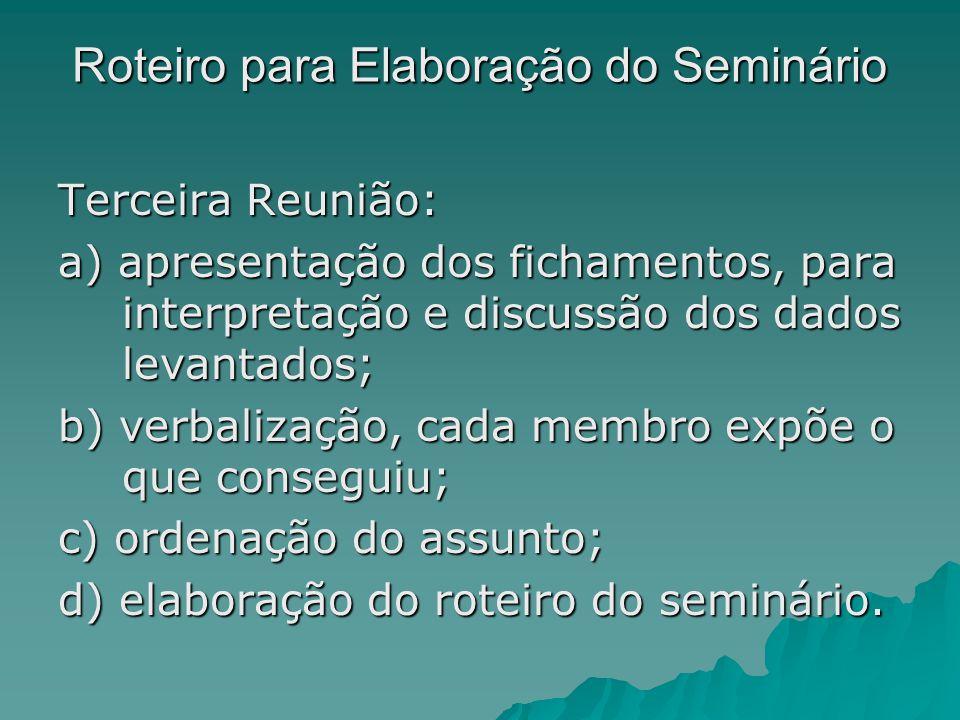Roteiro para Elaboração do Seminário Terceira Reunião: a) apresentação dos fichamentos, para interpretação e discussão dos dados levantados; b) verbal