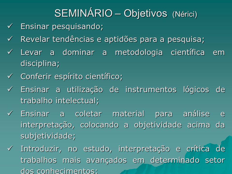 SEMINÁRIO – Objetivos (Nérici) Ensinar pesquisando; Ensinar pesquisando; Revelar tendências e aptidões para a pesquisa; Revelar tendências e aptidões