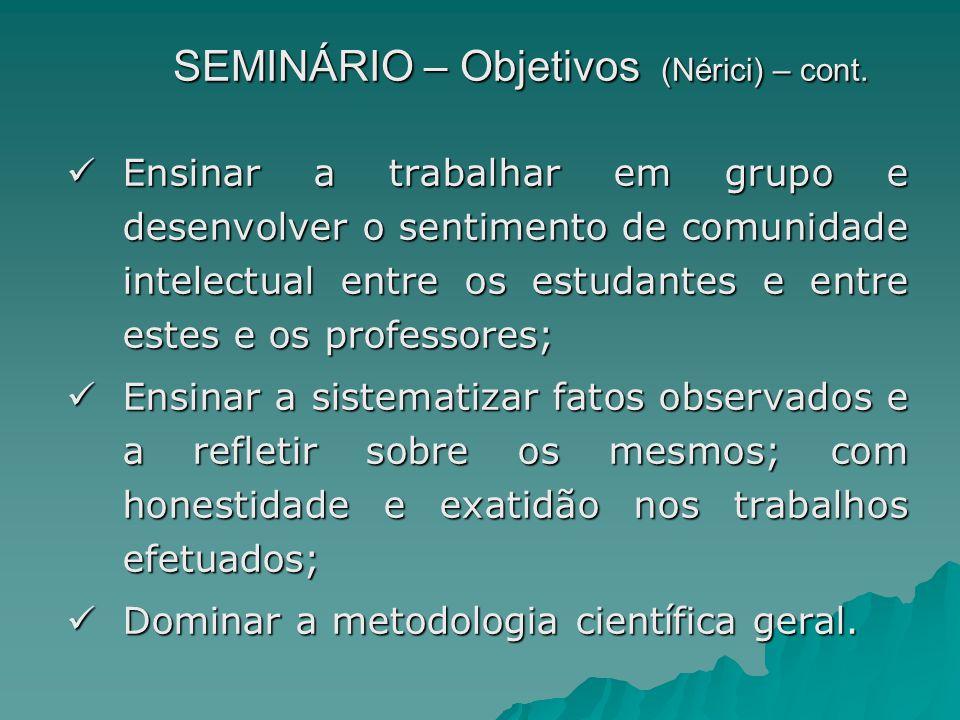 SEMINÁRIO – Objetivos (Nérici) – cont. Ensinar a trabalhar em grupo e desenvolver o sentimento de comunidade intelectual entre os estudantes e entre e
