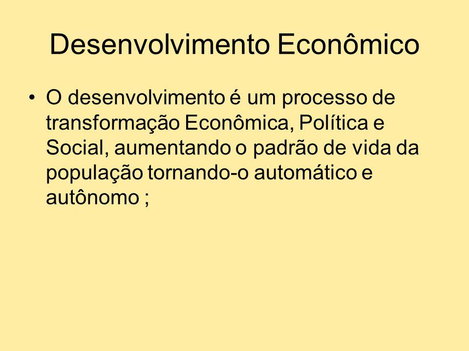 Crescimento versus Desenvolvimento O crescimento econômico é uma simples variação do produto enquanto que o desenvolvimento é uma transformação das relações econômicas, políticas e sociais; ou seja, do padrão de vida de toda a população.
