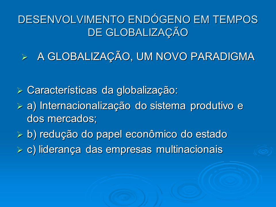 DESENVOLVIMENTO ENDÓGENO EM TEMPOS DE GLOBALIZAÇÃO A GLOBALIZAÇÃO, UM NOVO PARADIGMA A GLOBALIZAÇÃO, UM NOVO PARADIGMA Características da globalização: Características da globalização: a) Internacionalização do sistema produtivo e dos mercados; a) Internacionalização do sistema produtivo e dos mercados; b) redução do papel econômico do estado b) redução do papel econômico do estado c) liderança das empresas multinacionais c) liderança das empresas multinacionais