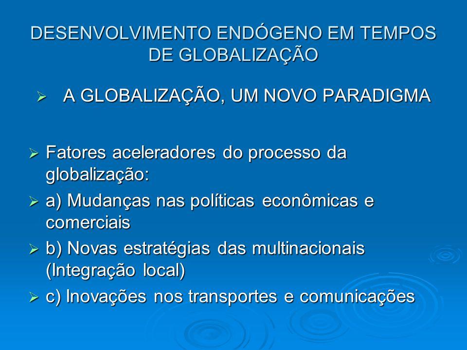 DESENVOLVIMENTO ENDÓGENO EM TEMPOS DE GLOBALIZAÇÃO A GLOBALIZAÇÃO, UM NOVO PARADIGMA A GLOBALIZAÇÃO, UM NOVO PARADIGMA Fatores aceleradores do processo da globalização: Fatores aceleradores do processo da globalização: a) Mudanças nas políticas econômicas e comerciais a) Mudanças nas políticas econômicas e comerciais b) Novas estratégias das multinacionais (Integração local) b) Novas estratégias das multinacionais (Integração local) c) Inovações nos transportes e comunicações c) Inovações nos transportes e comunicações