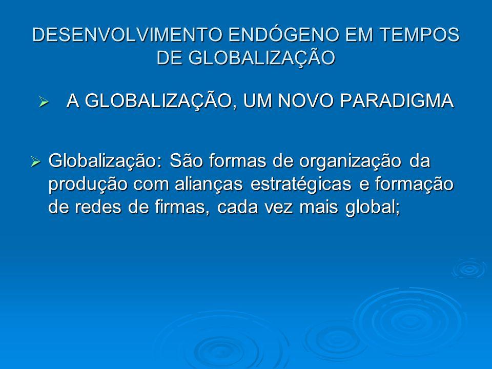 DESENVOLVIMENTO ENDÓGENO EM TEMPOS DE GLOBALIZAÇÃO A GLOBALIZAÇÃO, UM NOVO PARADIGMA A GLOBALIZAÇÃO, UM NOVO PARADIGMA Globalização: São formas de organização da produção com alianças estratégicas e formação de redes de firmas, cada vez mais global; Globalização: São formas de organização da produção com alianças estratégicas e formação de redes de firmas, cada vez mais global;