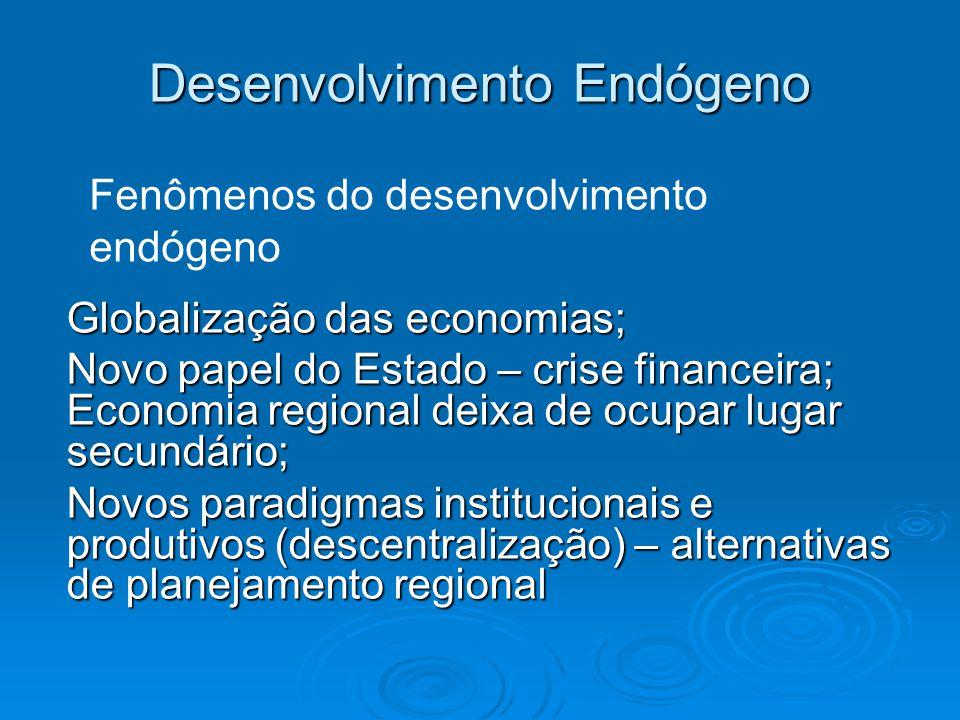 Desenvolvimento Endógeno Globalização das economias; Novo papel do Estado – crise financeira; Economia regional deixa de ocupar lugar secundário; Novos paradigmas institucionais e produtivos (descentralização) – alternativas de planejamento regional Fenômenos do desenvolvimento endógeno