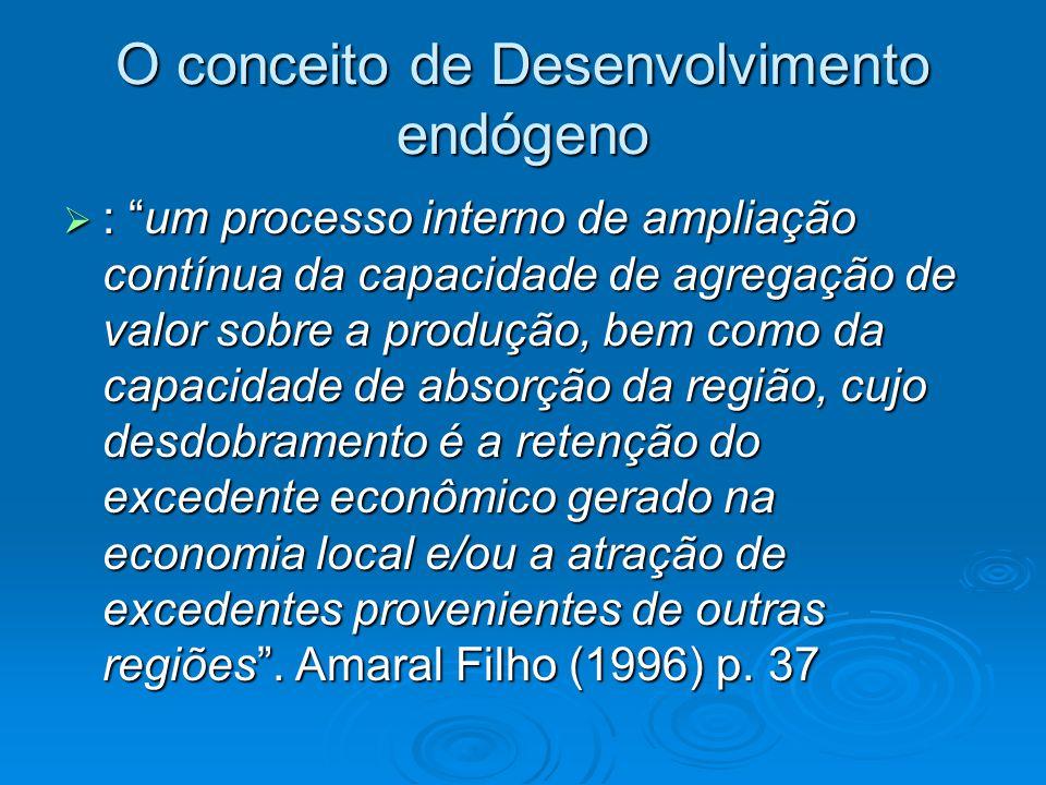 O conceito de Desenvolvimento endógeno : um processo interno de ampliação contínua da capacidade de agregação de valor sobre a produção, bem como da capacidade de absorção da região, cujo desdobramento é a retenção do excedente econômico gerado na economia local e/ou a atração de excedentes provenientes de outras regiões.