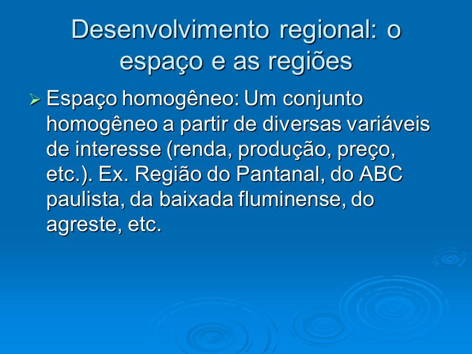 Espaço homogêneo: Um conjunto homogêneo a partir de diversas variáveis de interesse (renda, produção, preço, etc.). Ex. Região do Pantanal, do ABC pau