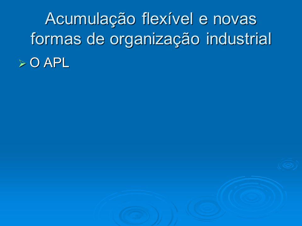 Acumulação flexível e novas formas de organização industrial O APL O APL