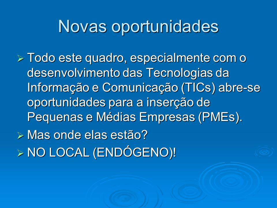 Novas oportunidades Todo este quadro, especialmente com o desenvolvimento das Tecnologias da Informação e Comunicação (TICs) abre-se oportunidades par
