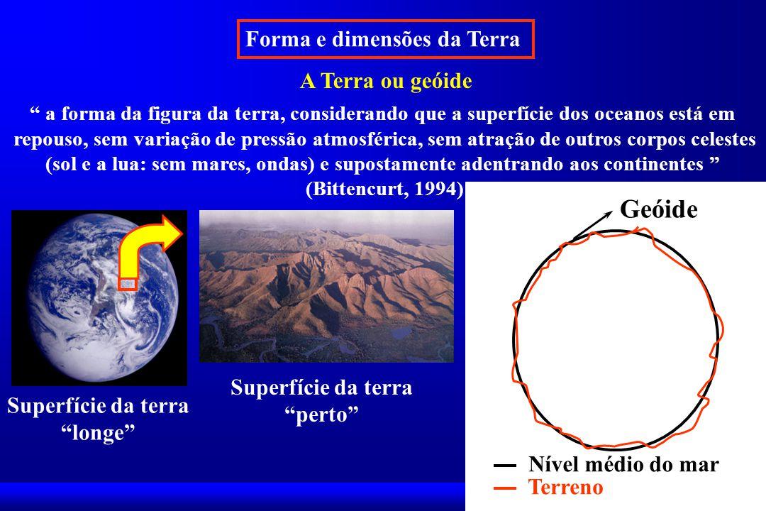 Forma e dimensões da Terra A Terra ou geóide a forma da figura da terra, considerando que a superfície dos oceanos está em repouso, sem variação de pressão atmosférica, sem atração de outros corpos celestes (sol e a lua: sem mares, ondas) e supostamente adentrando aos continentes (Bittencurt, 1994) Nível médio do mar Terreno Geóide Superfície da terra longe Superfície da terra perto