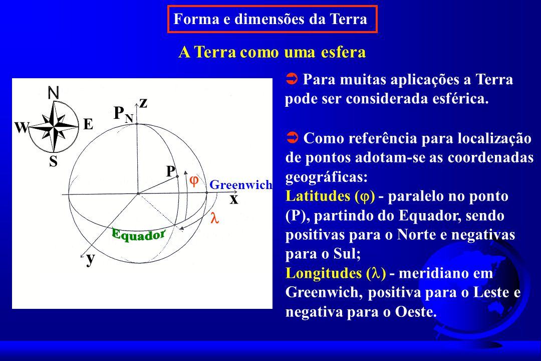 Forma e dimensões da Terra A Terra como uma esfera Para muitas aplicações a Terra pode ser considerada esférica.