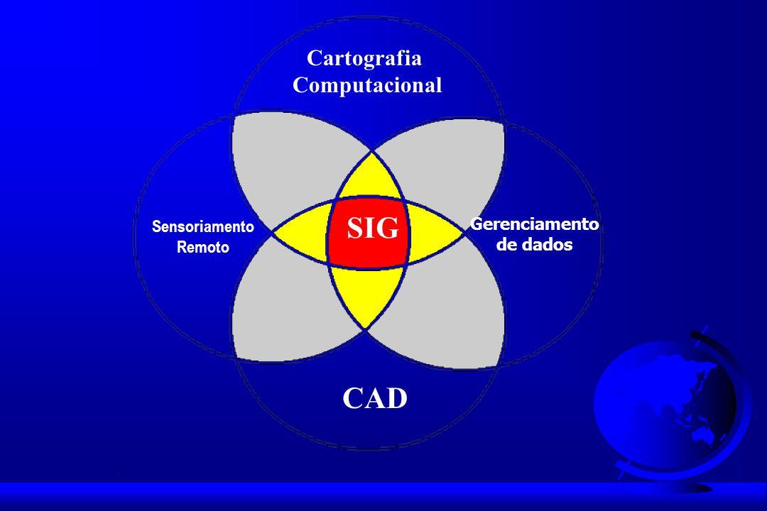 Cartografia Computacional CAD Gerenciamento de dados Sensoriamento Remoto SIG