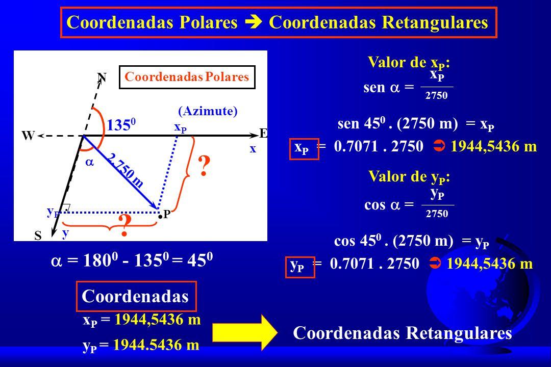 Valor de x P : sen = x P 2750 sen 45 0.(2750 m) = x P x P = 0.7071.