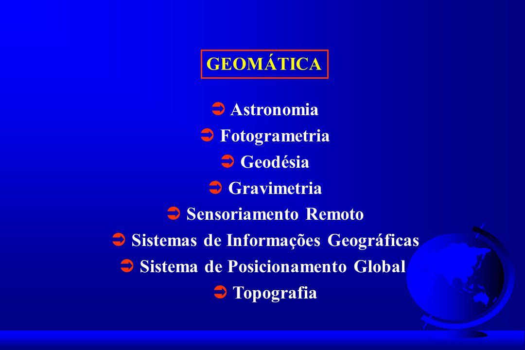 GEOMÁTICA Astronomia Fotogrametria Geodésia Gravimetria Sensoriamento Remoto Sistemas de Informações Geográficas Sistema de Posicionamento Global Topografia