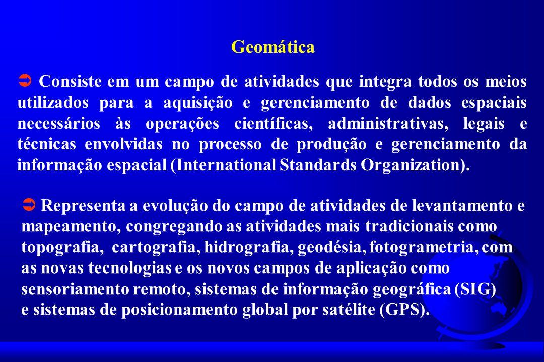 Geomática Consiste em um campo de atividades que integra todos os meios utilizados para a aquisição e gerenciamento de dados espaciais necessários às operações científicas, administrativas, legais e técnicas envolvidas no processo de produção e gerenciamento da informação espacial (International Standards Organization).