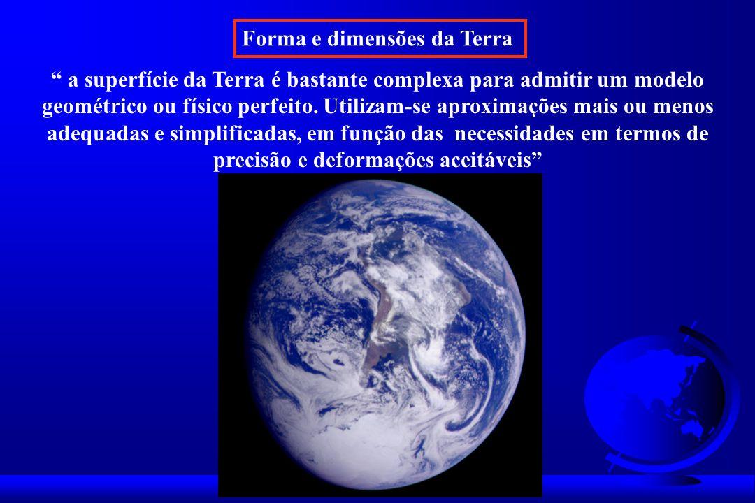 Forma e dimensões da Terra a superfície da Terra é bastante complexa para admitir um modelo geométrico ou físico perfeito.