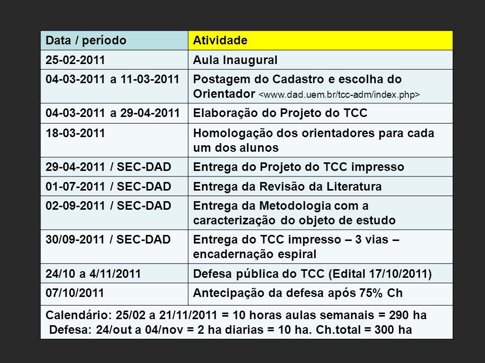 Data / períodoAtividade 25-02-2011Aula Inaugural 04-03-2011 a 11-03-2011Postagem do Cadastro e escolha do Orientador 04-03-2011 a 29-04-2011Elaboração