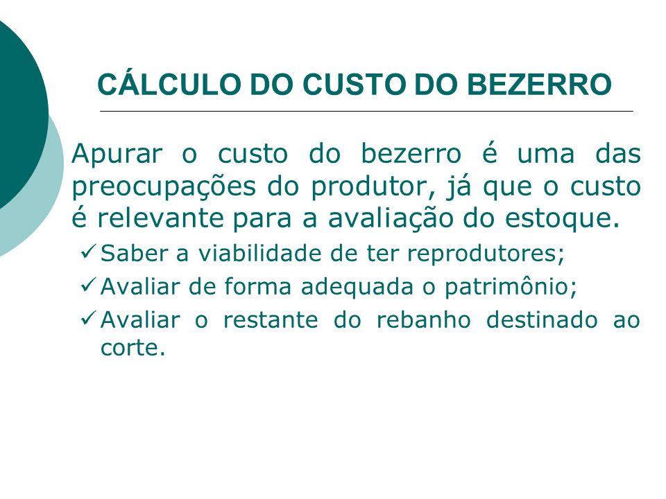 CÁLCULO DO CUSTO DO BEZERRO Apurar o custo do bezerro é uma das preocupações do produtor, já que o custo é relevante para a avaliação do estoque.