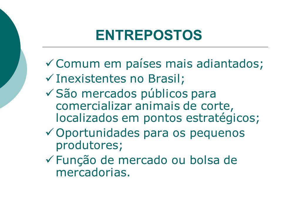 ENTREPOSTOS Comum em países mais adiantados; Inexistentes no Brasil; São mercados públicos para comercializar animais de corte, localizados em pontos estratégicos; Oportunidades para os pequenos produtores; Função de mercado ou bolsa de mercadorias.