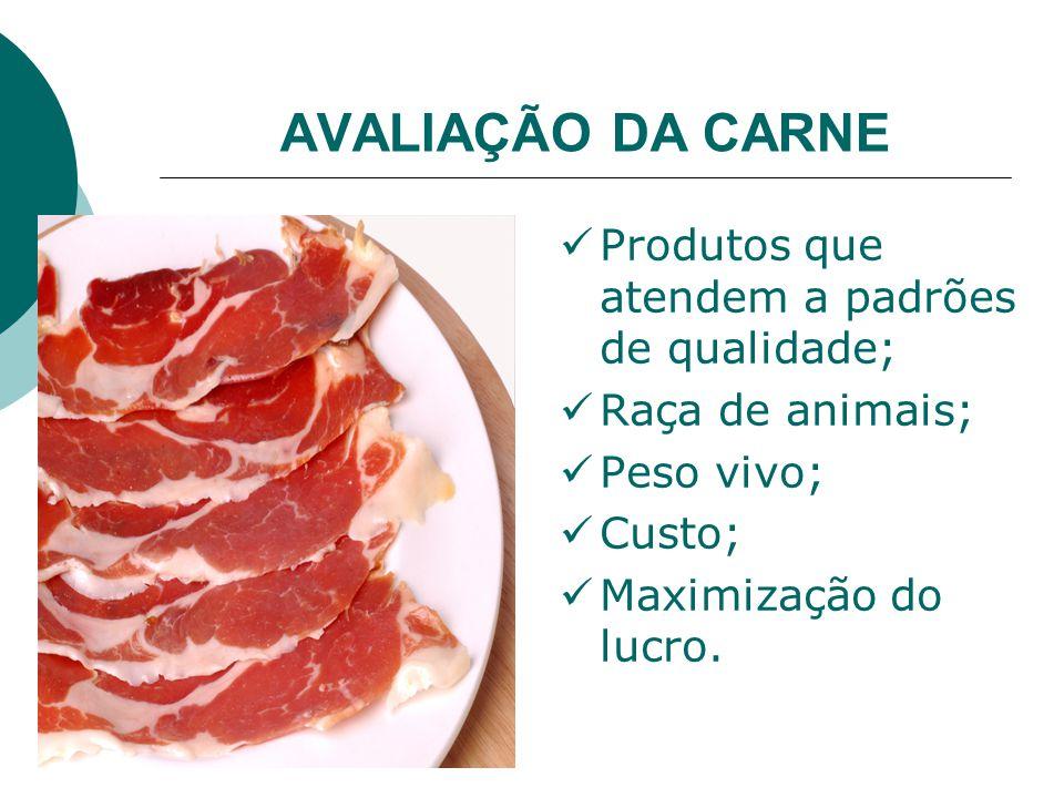 AVALIAÇÃO DA CARNE Produtos que atendem a padrões de qualidade; Raça de animais; Peso vivo; Custo; Maximização do lucro.