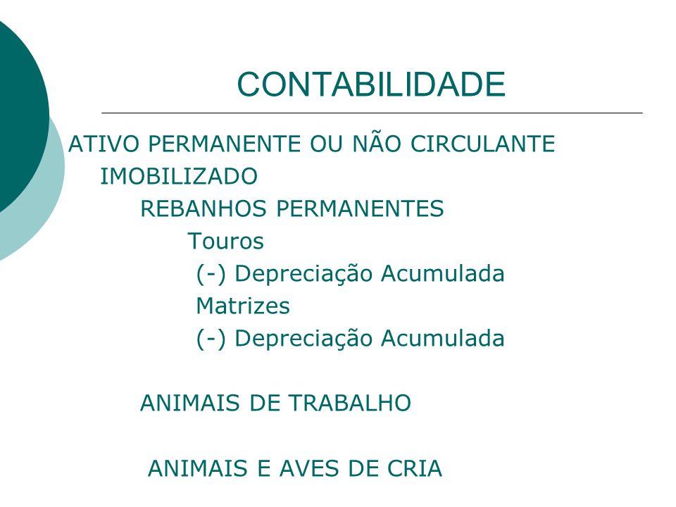 CONTABILIDADE ATIVO PERMANENTE OU NÃO CIRCULANTE IMOBILIZADO REBANHOS PERMANENTES Touros (-) Depreciação Acumulada Matrizes (-) Depreciação Acumulada ANIMAIS DE TRABALHO ANIMAIS E AVES DE CRIA