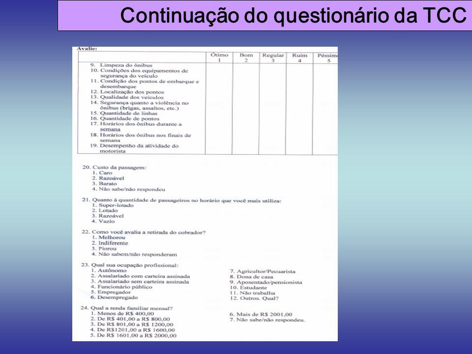 Continuação do questionário da TCC