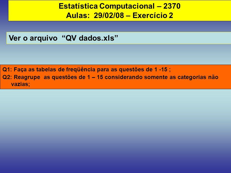 Estatística Computacional – 2370 Aulas: 29/02/08 – Exercício 2 Ver o arquivo QV dados.xls Q1: Faça as tabelas de freqüência para as questões de 1 -15