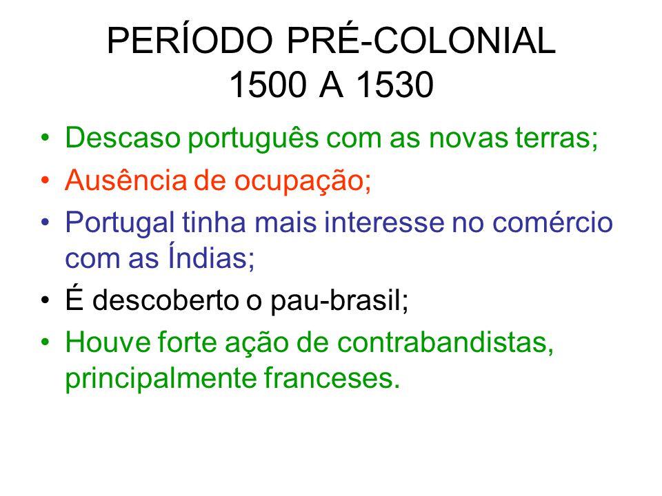 PERÍODO PRÉ-COLONIAL 1500 A 1530 Descaso português com as novas terras; Ausência de ocupação; Portugal tinha mais interesse no comércio com as Índias;