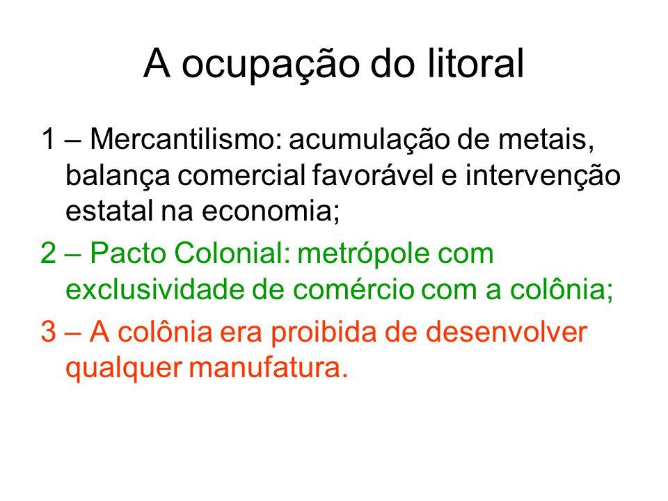 A ocupação do litoral 1 – Mercantilismo: acumulação de metais, balança comercial favorável e intervenção estatal na economia; 2 – Pacto Colonial: metr