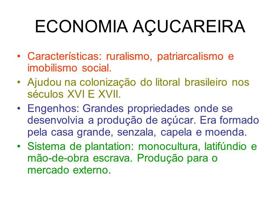 ECONOMIA AÇUCAREIRA Características: ruralismo, patriarcalismo e imobilismo social. Ajudou na colonização do litoral brasileiro nos séculos XVI E XVII