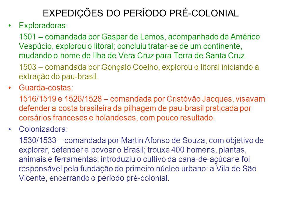 EXPEDIÇÕES DO PERÍODO PRÉ-COLONIAL Exploradoras: 1501 – comandada por Gaspar de Lemos, acompanhado de Américo Vespúcio, explorou o litoral; concluiu t