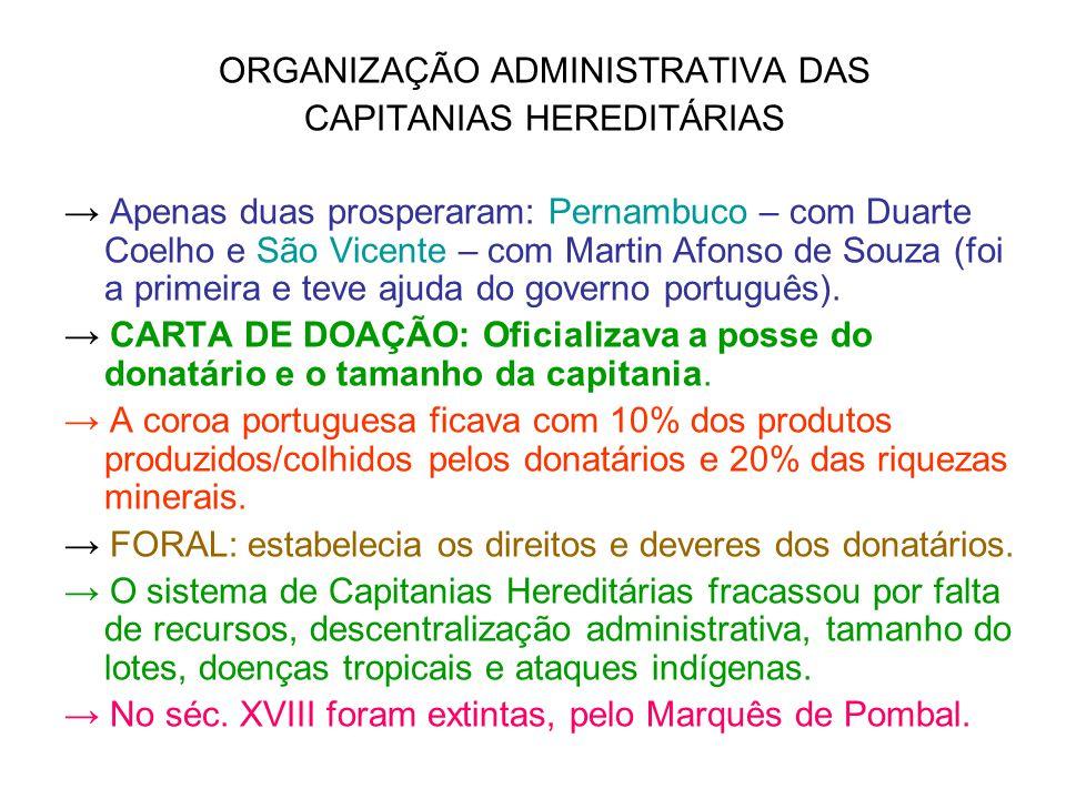 ORGANIZAÇÃO ADMINISTRATIVA DAS CAPITANIAS HEREDITÁRIAS Apenas duas prosperaram: Pernambuco – com Duarte Coelho e São Vicente – com Martin Afonso de So