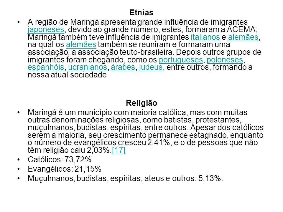 Etnias A região de Maringá apresenta grande influência de imigrantes japoneses, devido ao grande número, estes, formaram a ACEMA; Maringá também teve influência de imigrantes italianos e alemães, na qual os alemães também se reuniram e formaram uma associação, a associação teuto-brasileira.