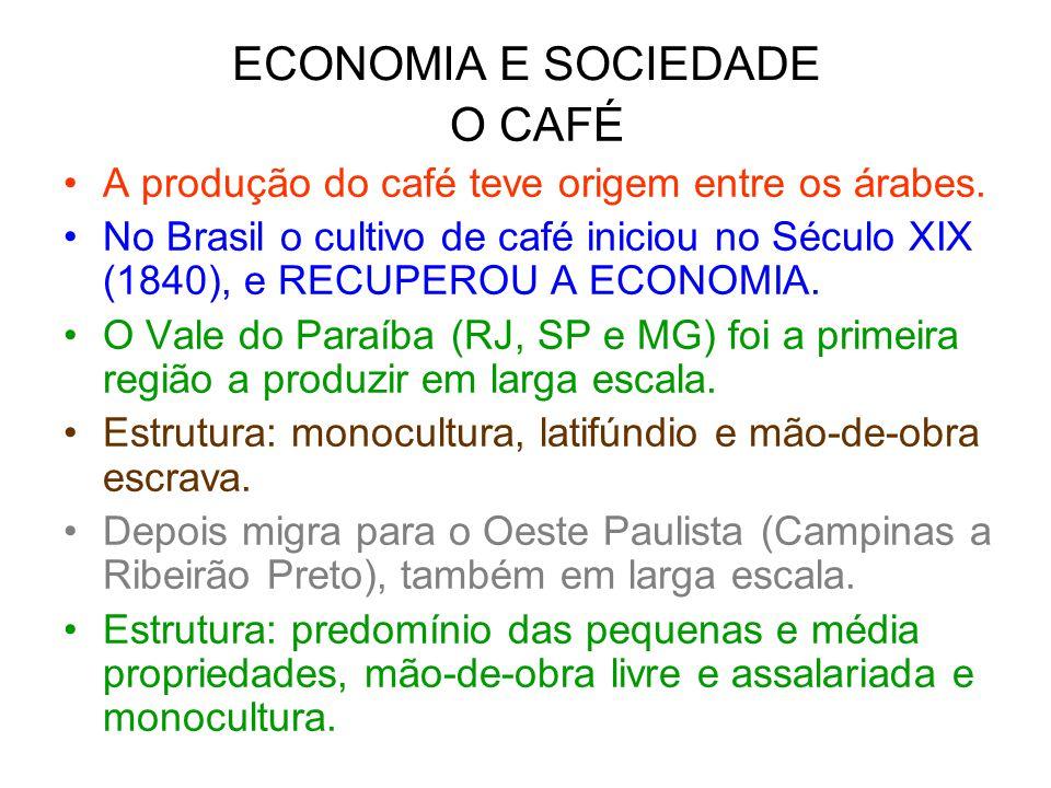 ECONOMIA E SOCIEDADE O CAFÉ A produção do café teve origem entre os árabes. No Brasil o cultivo de café iniciou no Século XIX (1840), e RECUPEROU A EC