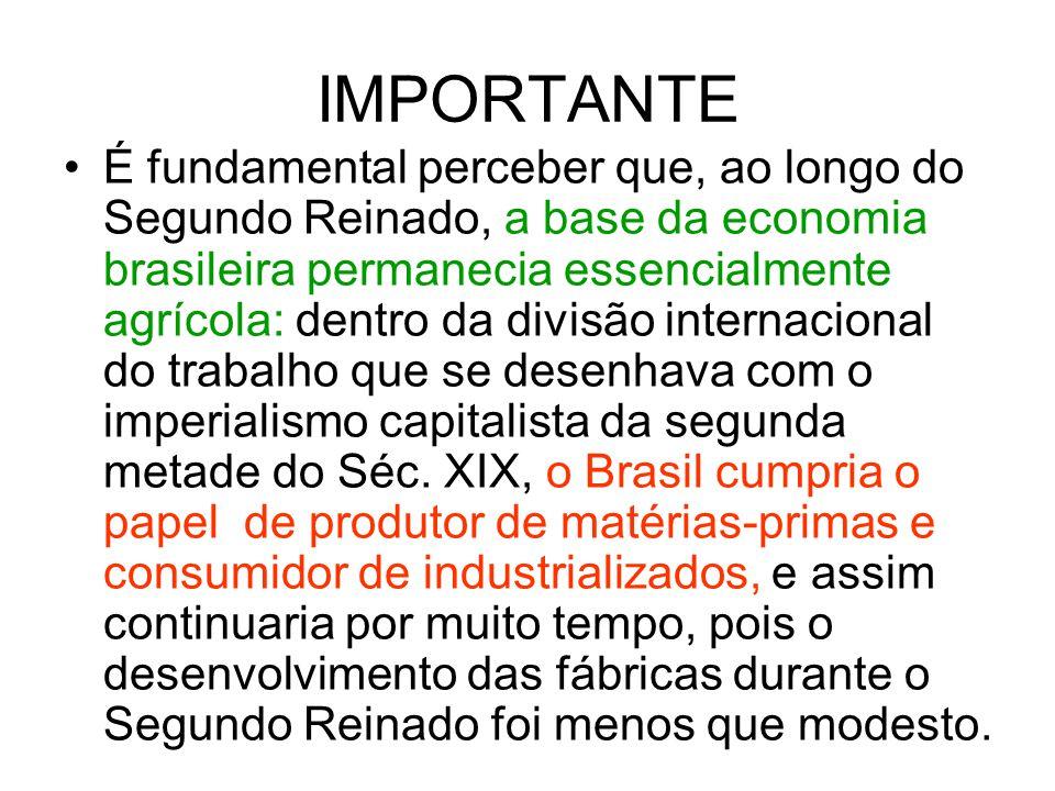 IMPORTANTE É fundamental perceber que, ao longo do Segundo Reinado, a base da economia brasileira permanecia essencialmente agrícola: dentro da divisã
