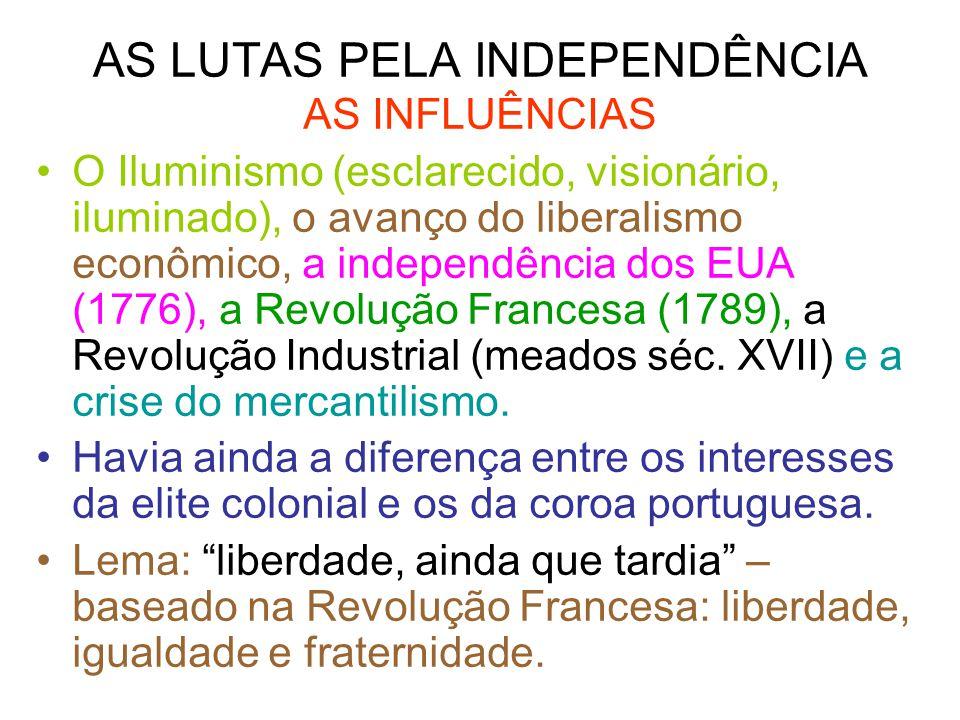 AS LUTAS PELA INDEPENDÊNCIA AS INFLUÊNCIAS O Iluminismo (esclarecido, visionário, iluminado), o avanço do liberalismo econômico, a independência dos E