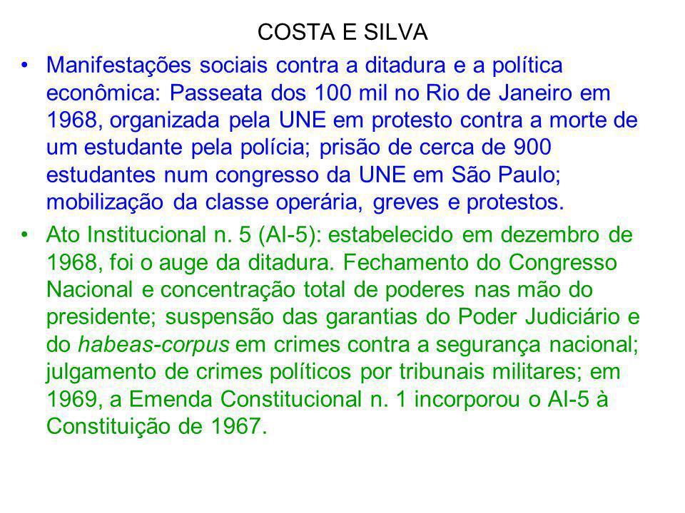 COSTA E SILVA Manifestações sociais contra a ditadura e a política econômica: Passeata dos 100 mil no Rio de Janeiro em 1968, organizada pela UNE em p