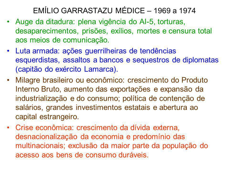 EMÍLIO GARRASTAZU MÉDICE – 1969 a 1974 Auge da ditadura: plena vigência do AI-5, torturas, desaparecimentos, prisões, exílios, mortes e censura total