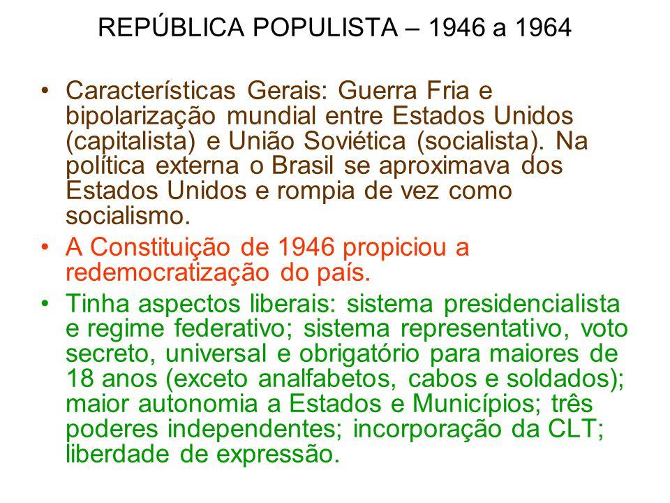 REPÚBLICA POPULISTA – 1946 a 1964 Características Gerais: Guerra Fria e bipolarização mundial entre Estados Unidos (capitalista) e União Soviética (so