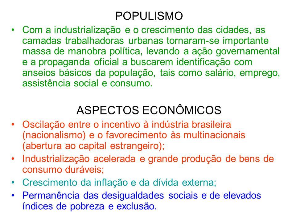 POPULISMO Com a industrialização e o crescimento das cidades, as camadas trabalhadoras urbanas tornaram-se importante massa de manobra política, levan