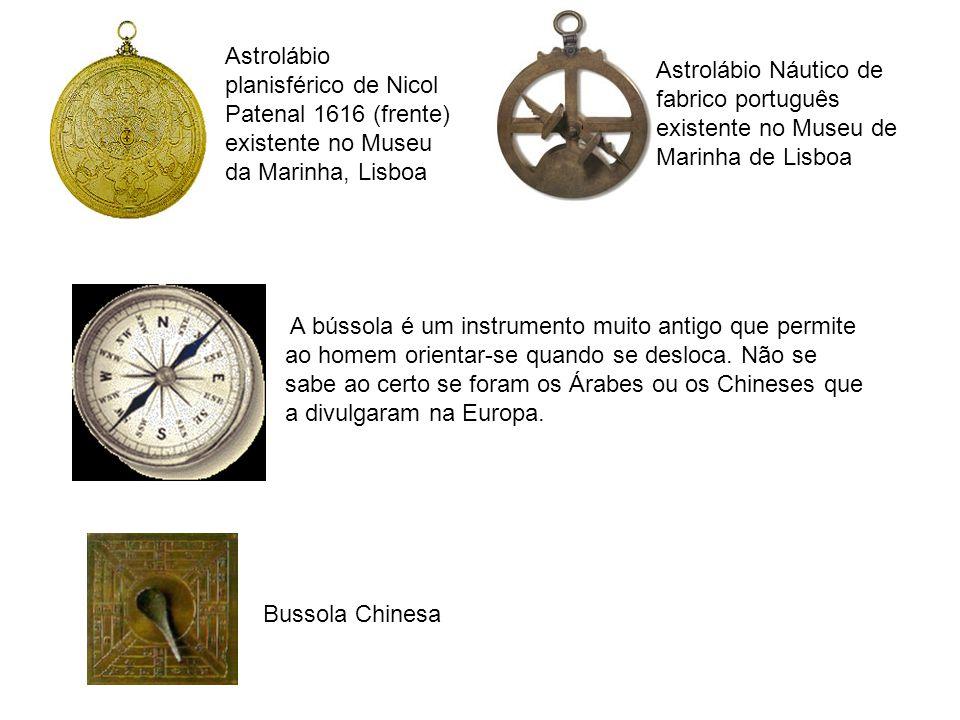 Astrolábio planisférico de Nicol Patenal 1616 (frente) existente no Museu da Marinha, Lisboa Astrolábio Náutico de fabrico português existente no Muse
