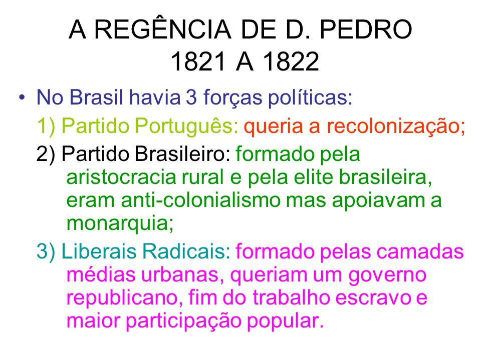A REGÊNCIA DE D. PEDRO 1821 A 1822 No Brasil havia 3 forças políticas: 1) Partido Português: queria a recolonização; 2) Partido Brasileiro: formado pe
